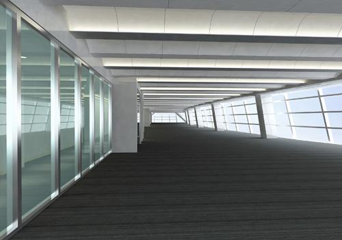 出租层设计效果图(办公区空间透视图)