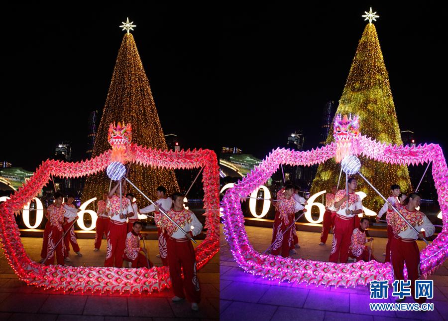 舞动巨龙,点亮圣诞树 广州塔开启嘉年华模式