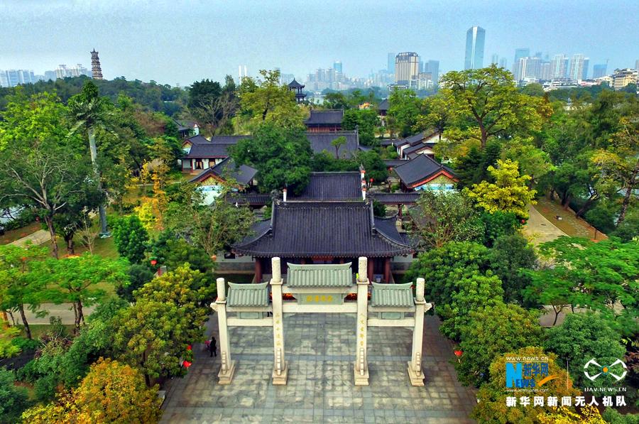 航拍广东惠州园林式文化殿堂丰湖书院