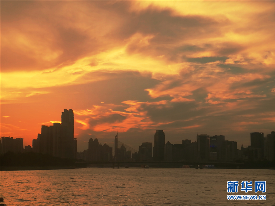 炎炎夏日,艳丽的晚霞将广州上空渲染成一幅幅水墨画.