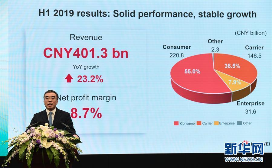 (經濟)(2)華為發布2019年上半年業績報告