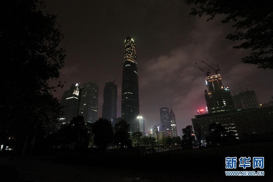 广州市标志性建筑广州塔熄灯