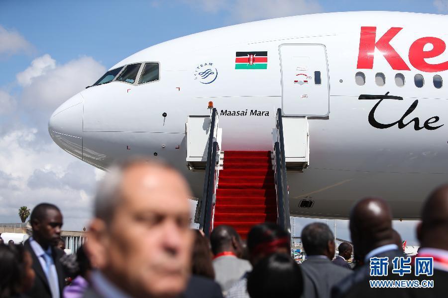 于11月18日起执飞内罗毕至广州不经停航线的波音777-300er型飞机揭幕.
