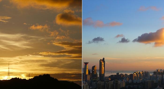 臺風過後金光乍現,深圳天空上演了一場大片