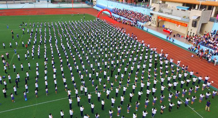 航拍廣州市第86中學成人宣誓活動