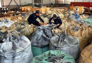 中國海關今年以來查獲走私固體廢物28.55萬噸