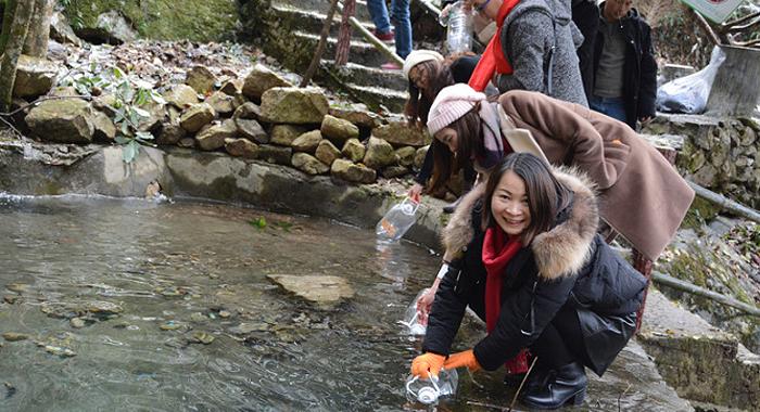 金子山雪初融 遊客取水泡茶