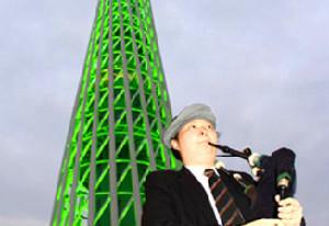 """廣州塔穿""""盛裝"""" 刮起綠色旋風"""