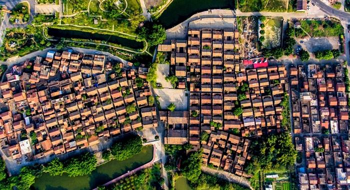 航拍連片廣東傳統民居群——三水大旗頭古村