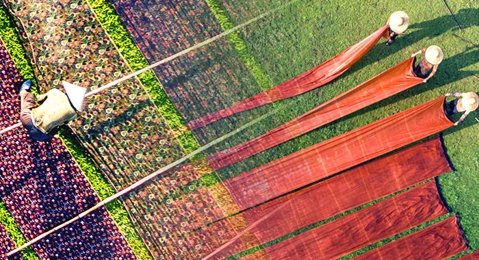 無人機探訪香雲紗工藝 浸染歲月靜美