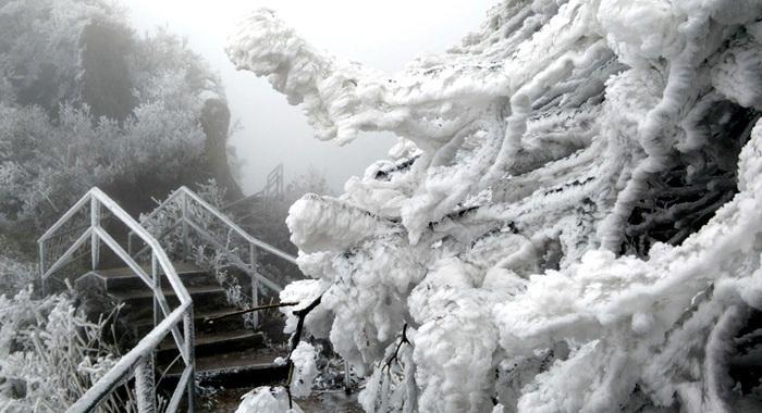廣東清遠連山大雪封山 霧淞結冰厚超過15厘米