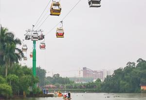 飛人垂降 直擊廣州長隆湖面高空客運索道應急救援演練