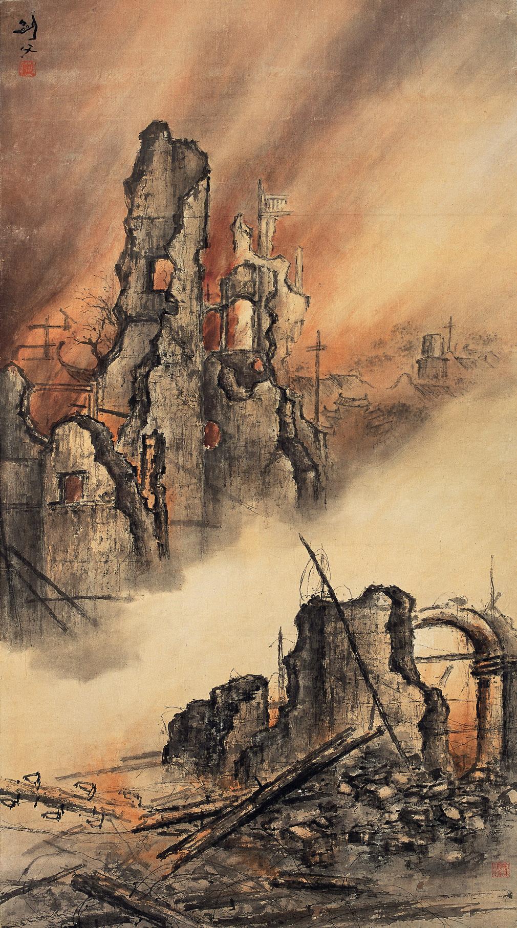 高剑父《东战场的烈焰》中国画 166×92cm 1932年 广州艺术博物院藏