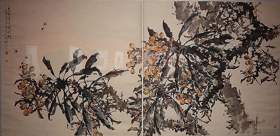 赵少昂《枇杷图 二条》中国画 年代不详 广州艺术博物院藏