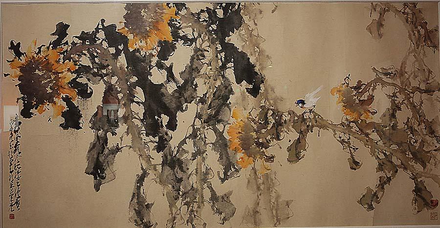 赵少昂《雨余零落不禁秋》中国画 1966年 广州艺术博物院藏