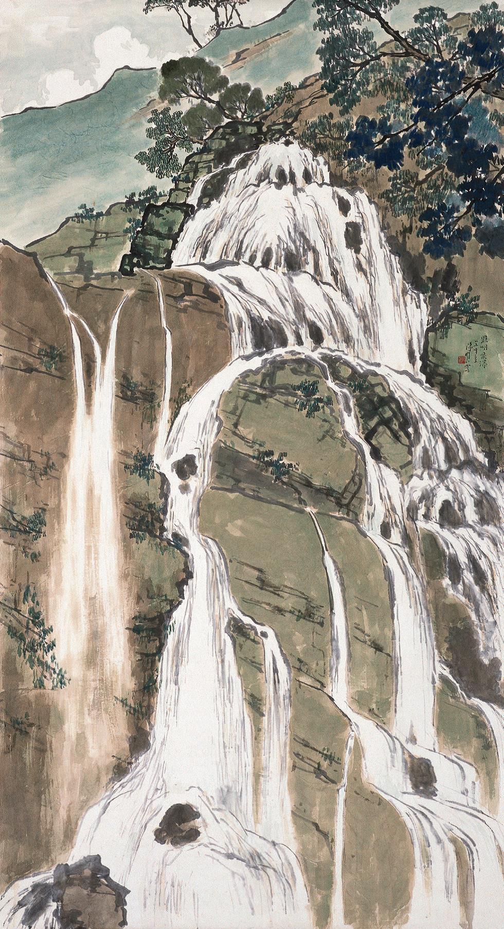 陈树人《鼎湖飞瀑》中国画 175×94.5cm 1936年 中国美术馆藏