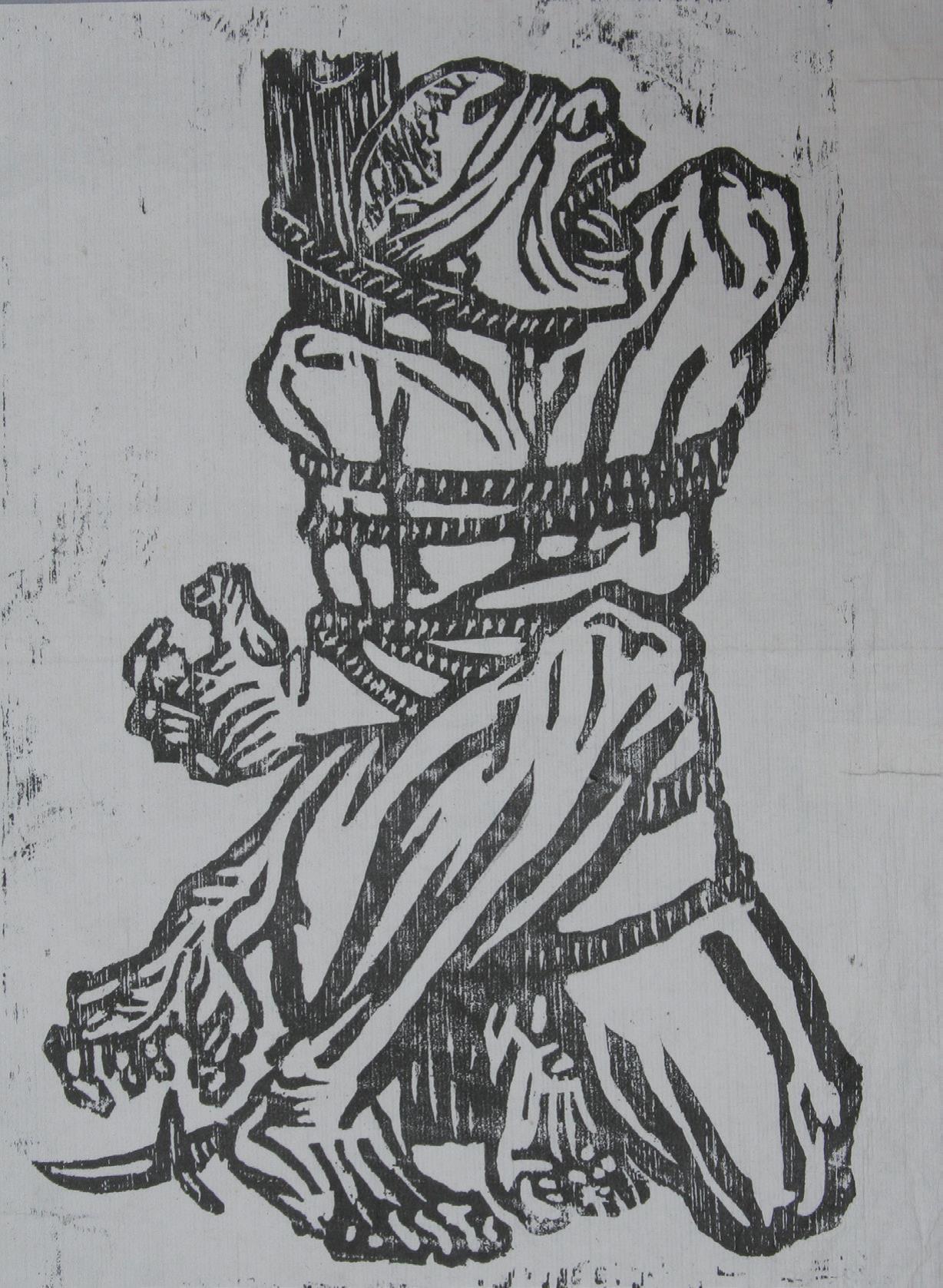 李桦《怒吼吧,中国!》版画 20x15cm 1935年 华茂美术馆藏