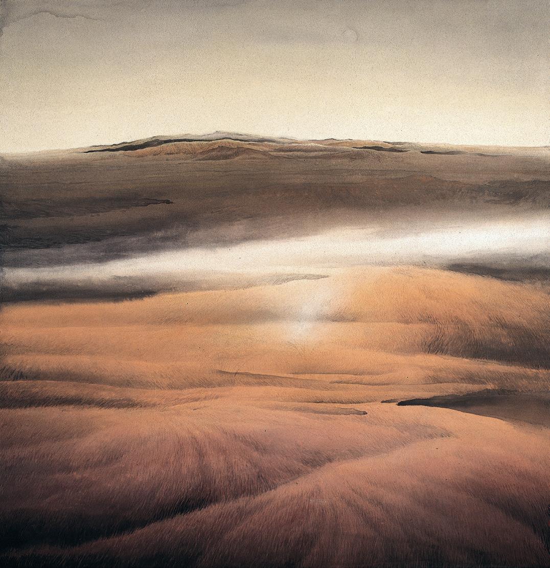 李劲堃《大漠之暮》中国画 154x150cm 1989年