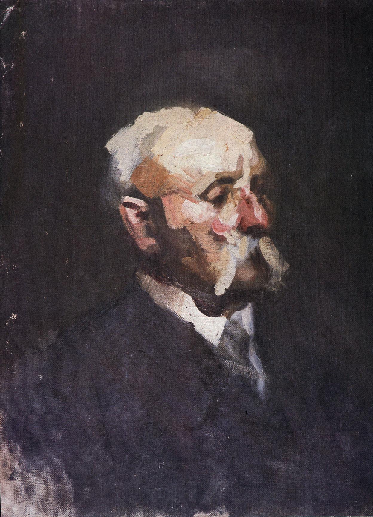 李铁夫《未完成的老人像》 油画 61x48cm 20c30年代 广州美术学院美术馆藏