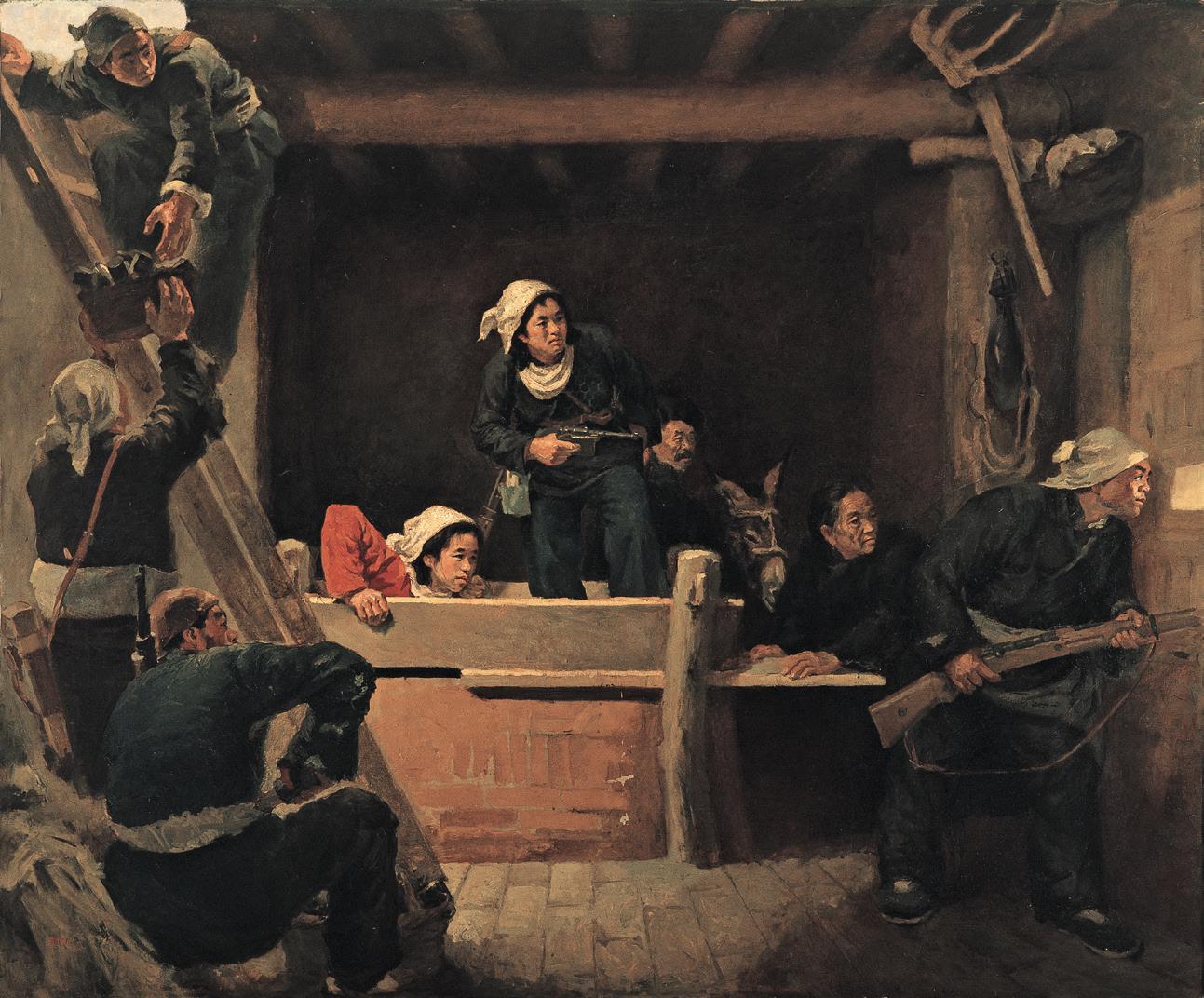 罗工柳《地道战》油画 144x169cm 1951年 中国国家博物馆藏