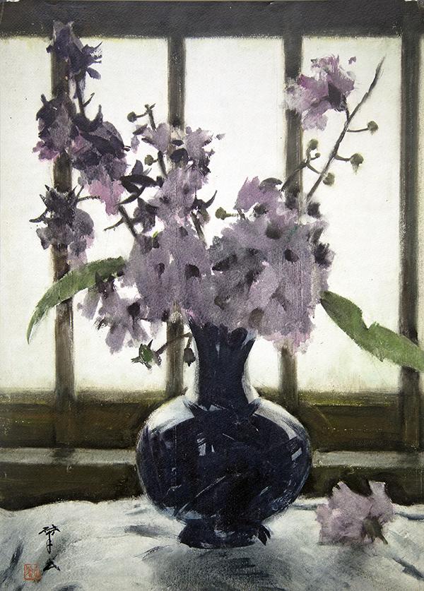 王肇民《大叶紫薇》水彩 54x39cm 1977年 广东美术馆藏 调
