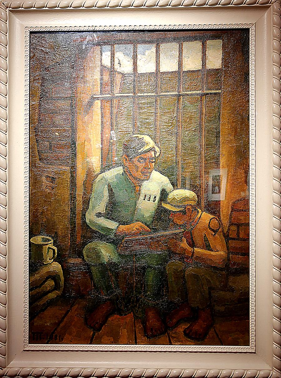 胡一川《铁窗下》油画 1980年 胡一川研究所藏