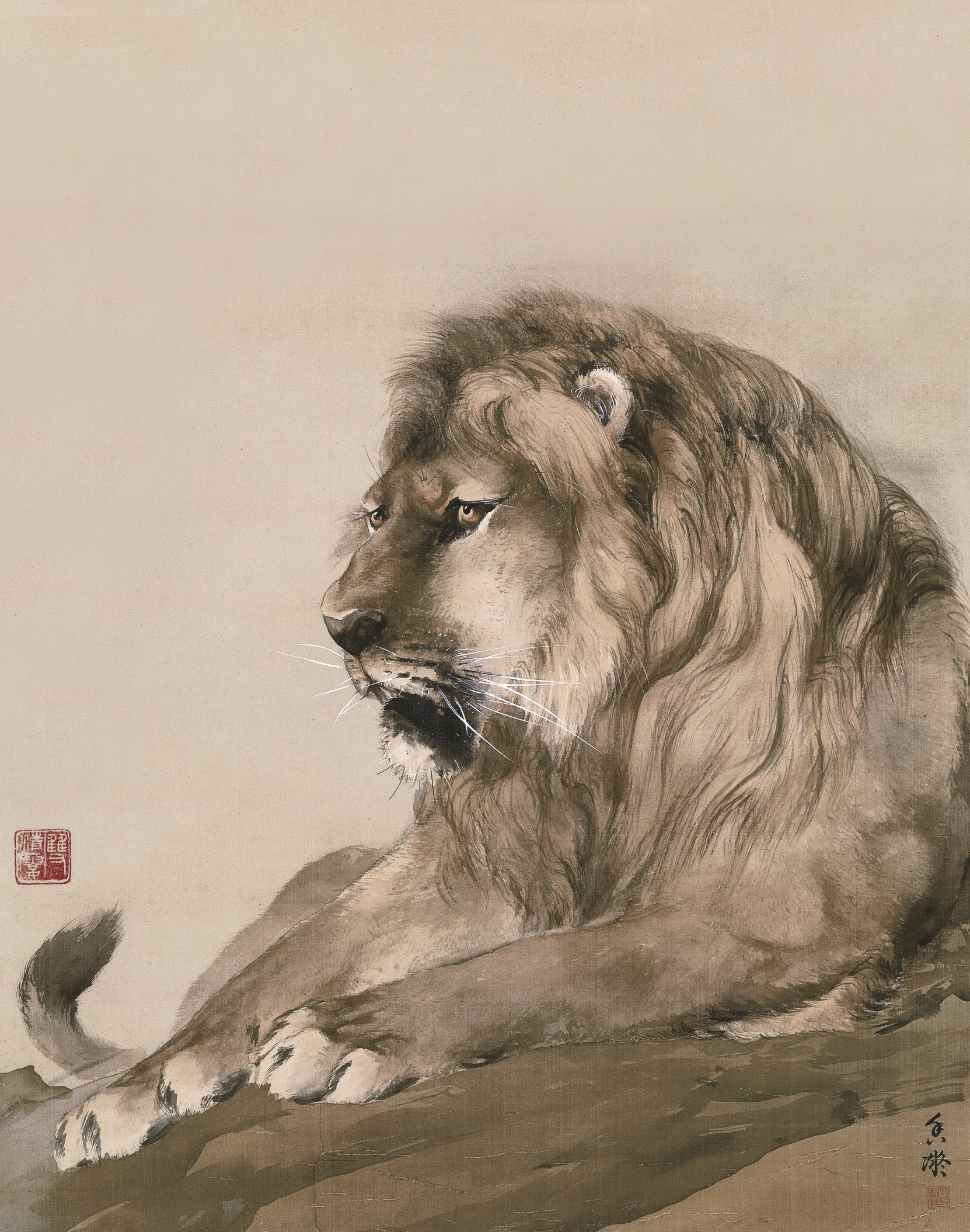 何香凝《狮》中国画 63x49cm 1914年 何香凝美术馆藏