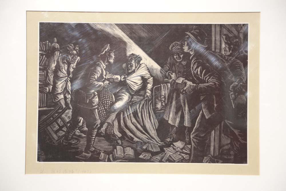 李桦《夜的恐怖》版画 1947年 中央美术学院美术馆藏