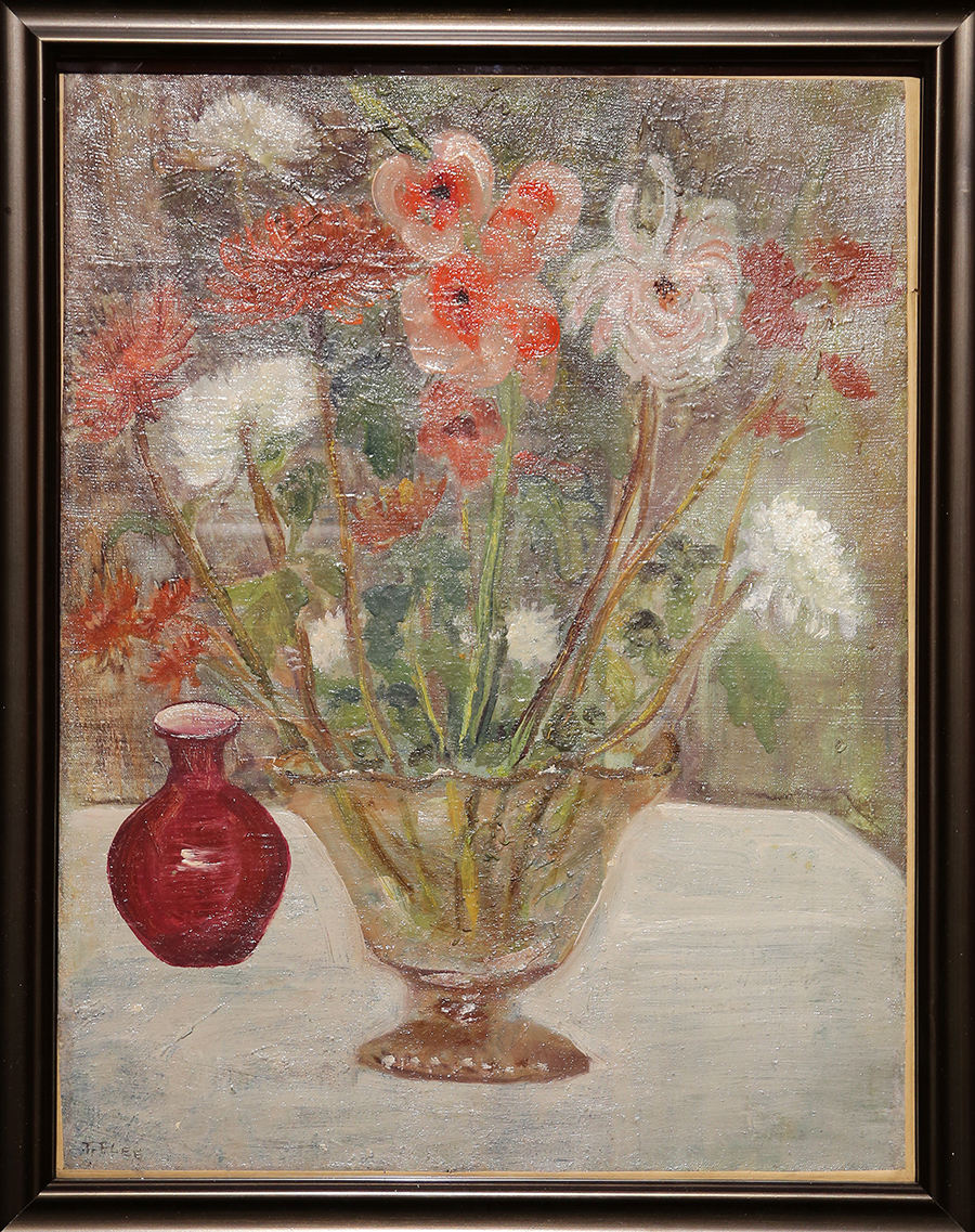 李铁夫《花(瓶菊)》水彩画 1933年 广州美术学院美术馆藏
