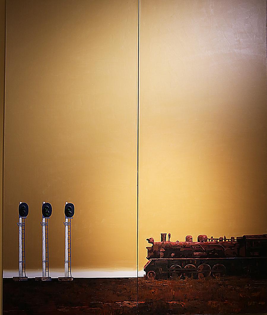 梁宇《信号灯系列之十八》油画 2008年 广东美术馆藏