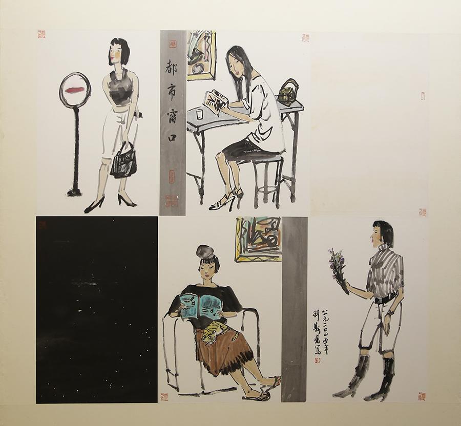 刘斯奋《都市窗口》中国画 2004年 广州市国家档案馆藏