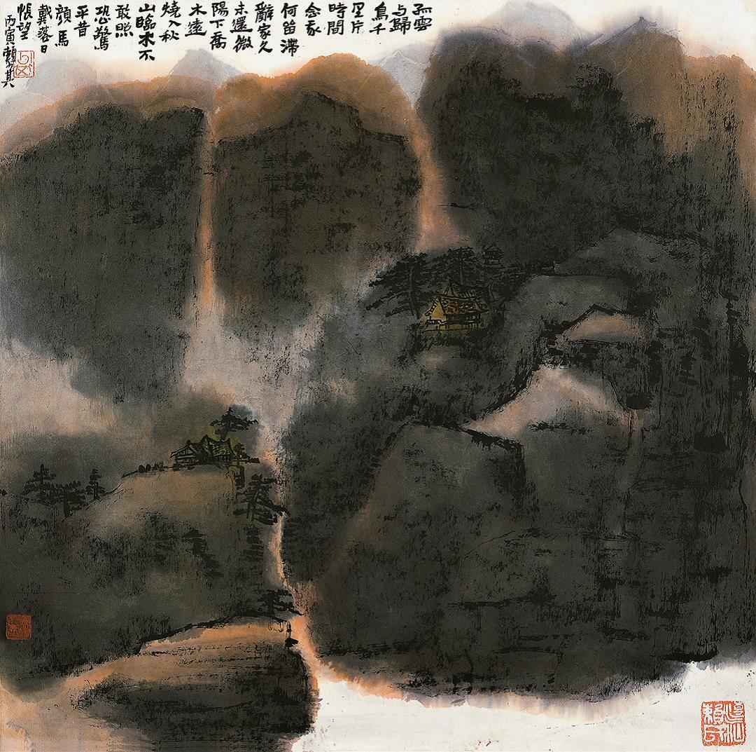 赖少其《孤云与归鸟》中国画 68x68cm 1986年 广州艺术博物院藏