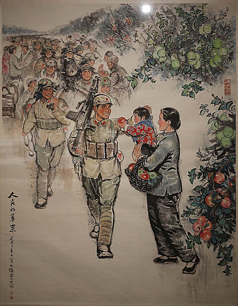唐大禧 《人民的苹果》 1973年 中国画 中国美术馆藏