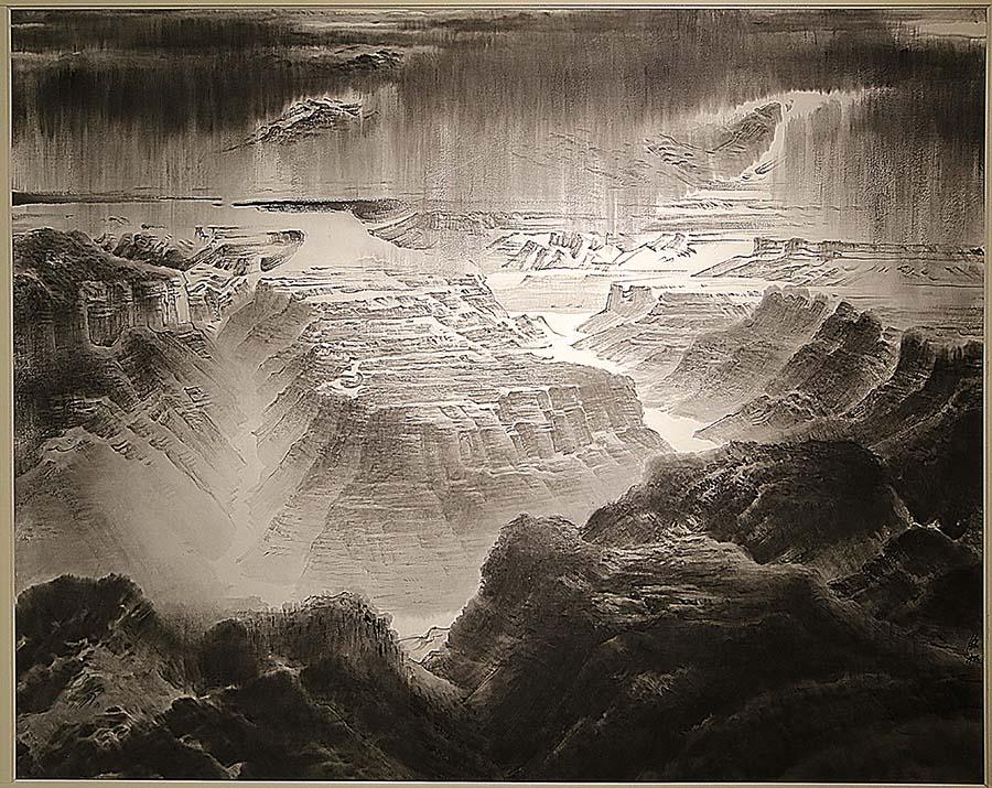 许钦松《高原甘雨》中国画 2009年 中国美术馆藏