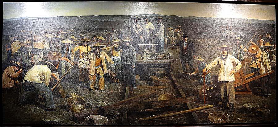 薛军《1860年的晨——广东华工过金山修建太平洋铁路》油画 2011年