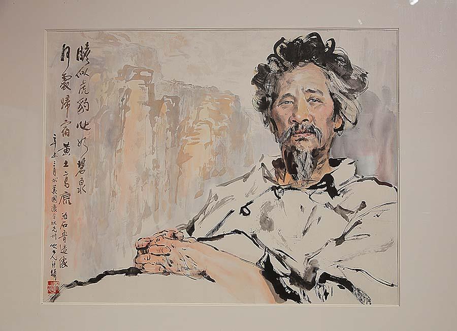 杨之光《石鲁像》中国画 1990年 中国美术馆藏